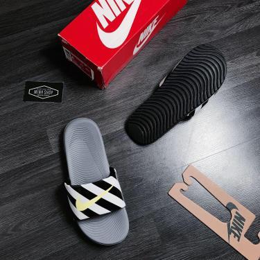 Hàng Chính Hãng Nike Kawa Slide Grey/LOGO Neon 2019**