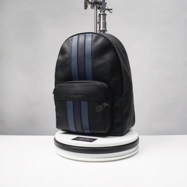 Hàng Chính Hãng Balo Coach Houston  With Varsity Stripe Black/Navy 2020**