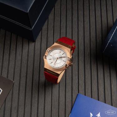 ☀️ polite ☀️  Maserati Potenza Chronograph Silver Dial Ladies Watch Red  [R8851108501]