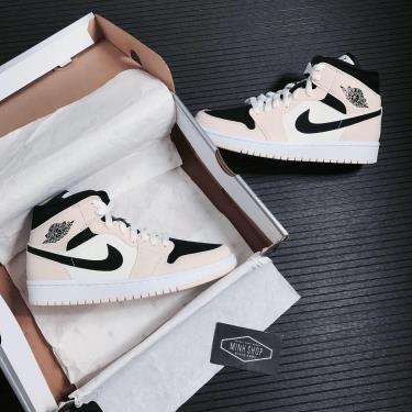 Hàng Chính Hãng Nike AirJordan 1 Mid Barely Orange 2020**