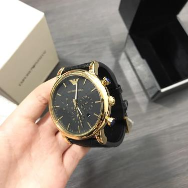 Hàng Chính Hãng Emporio Armani Luigi Black Dial  Watch **2020**
