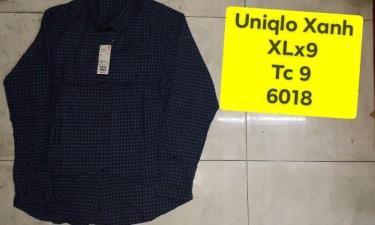 Hàng Chính Hãng Áo Uniqlo Flannel Long Sleeve Shirt Blue Caro 2019**