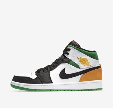 Hàng Chính Hãng Nike Jordan 1 Mid White Laser Orange Lucky Green  GS 2021**
