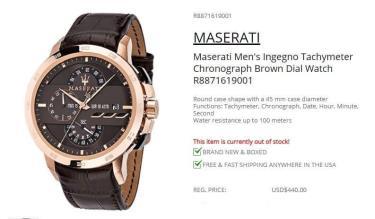 Hàng Chính Hãng Maserati Ingegno Tachymeter Chronograph Brown Dial Watch 2021**
