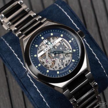 Hàng Chính Hãng Maserati Triconic Automatic Blue Gunmetal Watch  2021**