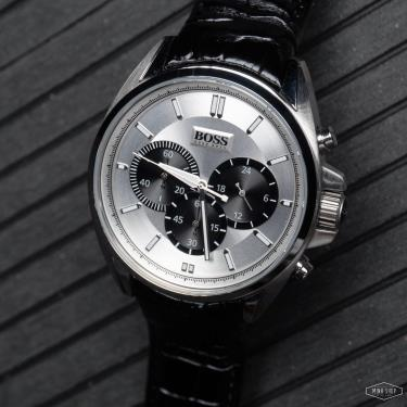 Hàng Chính Hãng Hugo Boss Driver Chronograph Leather Black/Silve Watch 2021**