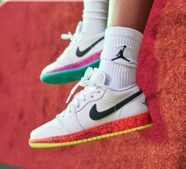 Hàng Chính Hãng Nike Jordan 1 Low Multi-Color Midsoles White 2020**