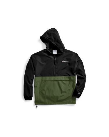 Hàng Chính Hãng Áo Khoác Champion Packable Jacket Black Green/Small LOGO 2020**