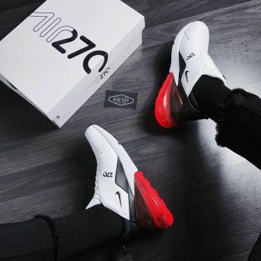 Hàng Chính Hãng Nike Air Max 270 Leather White Black Hyper Crimson **2020** V
