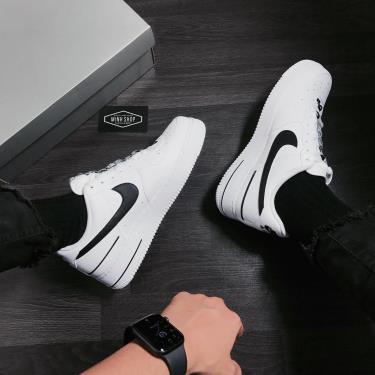 Hàng Chính Hãng Nike Air Force 1 Low LV 8 White/Black LOGO CUST 2020** V
