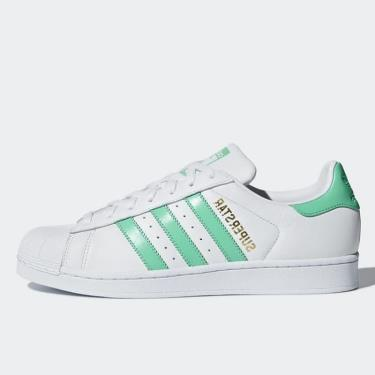 ''FLASH DEAL 70% '' Hàng Chính Hãng Adidas Super Star White/Light Green ** 2019 **