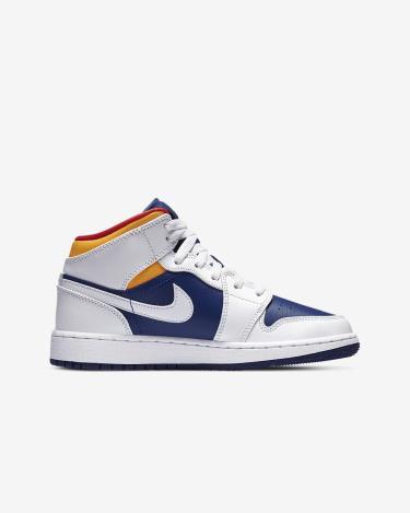 Giày Nike Air Jordan 1 Mid Royal Blue Laser Orange GS ** [554725-131]