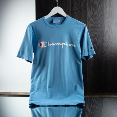 Hàng Chính Hãng Áo Thun Champion Printed Script Logo  Blue 2020**
