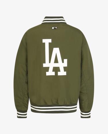 ONLY XXL FIT Áo Khoác Bomber Baseball MLB Big Logo LA Dark Green (FORM ÔM) - [31JP01011]