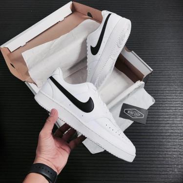 BEST SELLER 98/100 Hàng Chính Hãng Nike Court Vision Low White/Black LOGO Men 2021**