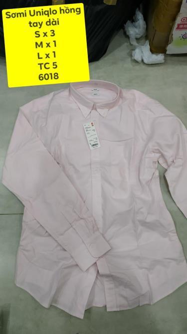 Hàng Chính Hãng Áo Sơ Mi Uniqlo Long -Sleeve Pink 2019**