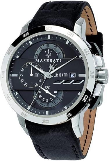 Đồng Hồ Maserati Ingegno Chronograph Silver/Black Leather Strap Watch ** [R8871619004]