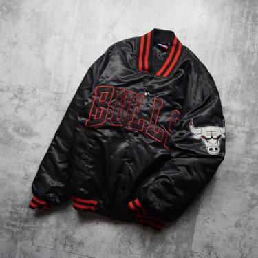 Áo Khoác Bomber Jacket NBA Chicago Bulls Black White LIMITED 2021**