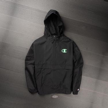 Hàng Chính Hãng Áo Khoác Champion Packable Jacket Pop Color Logo Black/Green 2021**