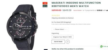 Đồng Hồ Maserati Ingegno Chronograph Skin Black Dial Watch ** [R8871619003]