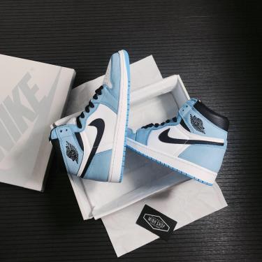 ❌ luxurious ❌  Giày Nike Jordan 1 Retro High White University Blue Black [O] ** [555088 134]
