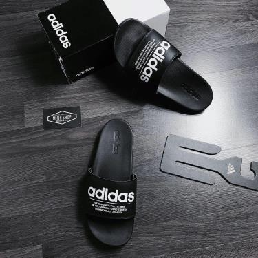 Hàng Chính Hãng  Dép Adidas CF Adilette Black/White Logo The Brand 2020**
