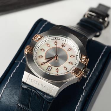 Hàng Chính Hãng Maserati Potenza Chronograph Silver Dial Ladies Watch Navy 2020**