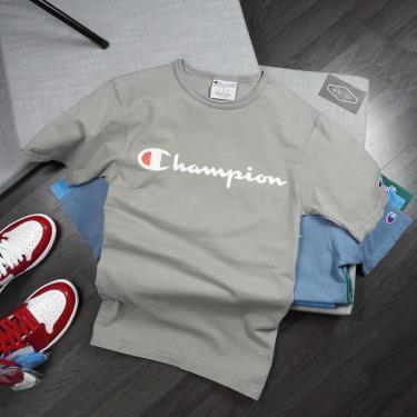 Hàng Chính Hãng Áo Thun ChampionPrinted Script Logo   Grey 2020**