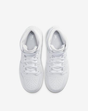 Hàng Chính Hãng Nike Air Jordan 1 Mid GS Triple White 2020**