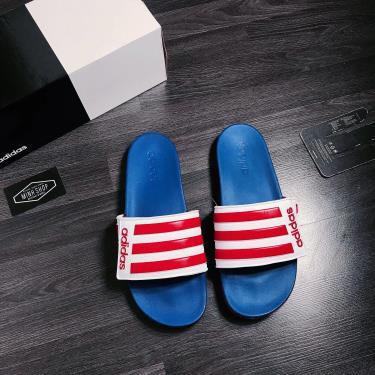 Hàng Chính Hãng Dép Adidas CF Slides Stripes  White/ Red LOGO 2020*