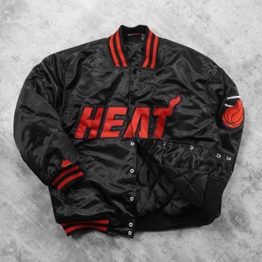 Hàng Chính Hãng Áo Khoác Bomber Jacket NBA Miami Heat Black Red LIMITED 2021**