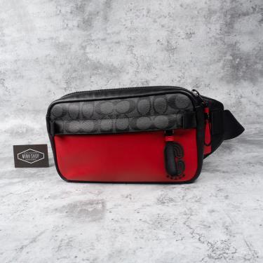 Hàng Chính Hãng Túi Coach Signature Colorblock Edge Belt Bag Sport Red Charcoal 2021**