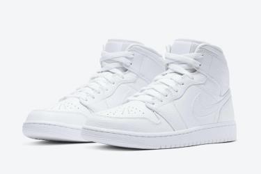 Hàng Chính Hãng Nike Jordan 1 Mid Triple White 2.0 **2020**