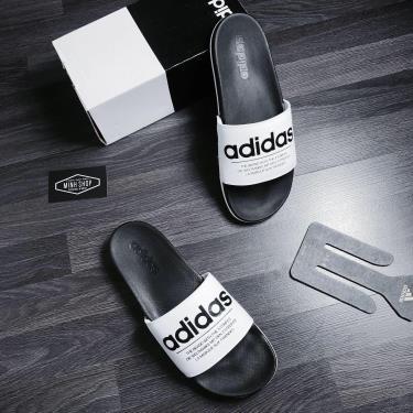 Hàng Chính Hãng Adidas Dép CF Adilette White/Black Logo The Brand 2020**