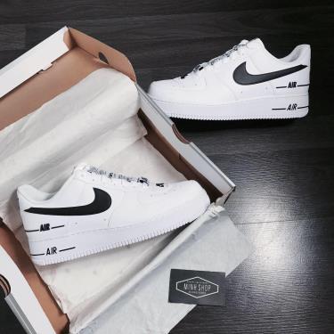 Hàng Chính Hãng Nike Air Force 1 Low LV 8 White/Black LOGO CUST 2021** V
