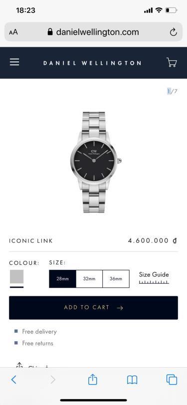 Hàng Chính Hãng DW Iconic Link Silver/Black  Watch 2020** NEW**