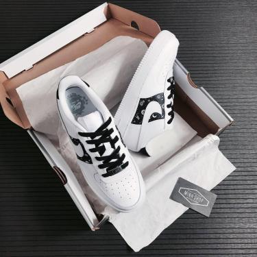 Hàng Chính Hãng Nike Air Force 1 Low White/Black CUST 2020**