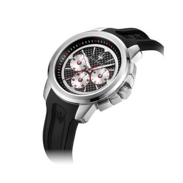 Hàng Chính Hãng Maserati Sfida Chronograph Black/Silver Silicone 2021**