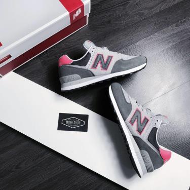 Hàng Chính Hãng Newbalance  574 Grey/Whte/Pink Grey LOGO 2020**