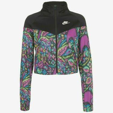 Hàng Chính Hãng Áo Khoác Nike Women's Black Future Femme Poly Knit Black AOP Crop Jacket 2021**