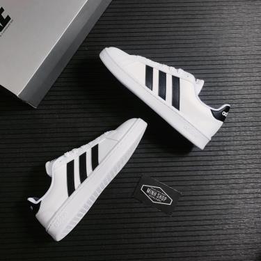 """Hàng Chính Hãng Adidas Grand Court """"Cloud White/Black Stripes"""" 2021**"""