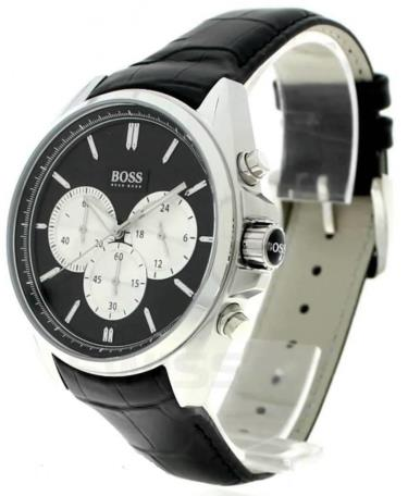 Hàng Chính Hãng Hugo Boss Driver Chronograph Leather Black Watch 2021**