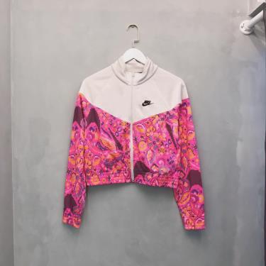 Hàng Chính Hãng Áo Khoác Nike Women's Future Femme Poly Knit Ivory/Pink AOP Crop Jacket 2021**