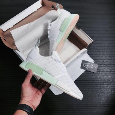 -1xxx K ~ Hnay Giày Adidas NMD R1 White Blush Green ** (áp dung Chuyển Khoản) [FV1737]