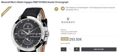 Hàng Chính Hãng Maserati Ingegno Chronograph Silver/Black Leather Strap Watch 2021**