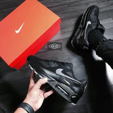 Hàng Chính Hãng Nike Air Max 90 Black/Grey Logo 2020**