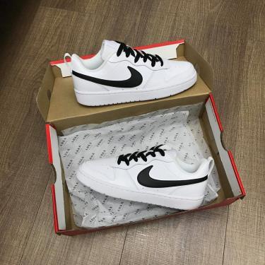 Hàng Chính Hãng Nike Court Borough Low 2 White/Black LOGO CUST **2021**