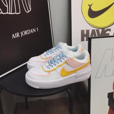Hàng Chính Hãng Nike Air Force 1 Shadow White Yellow Pink Cust 2021**