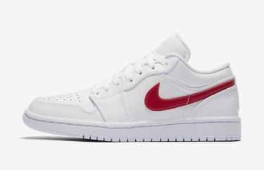 Hàng Chính Hãng Nike Air Jordan 1 Low White University Red 2020** V