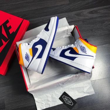 Hàng Chính Hãng Nike Air Jordan 1 Mid  White/Blue/Yellow 2020**